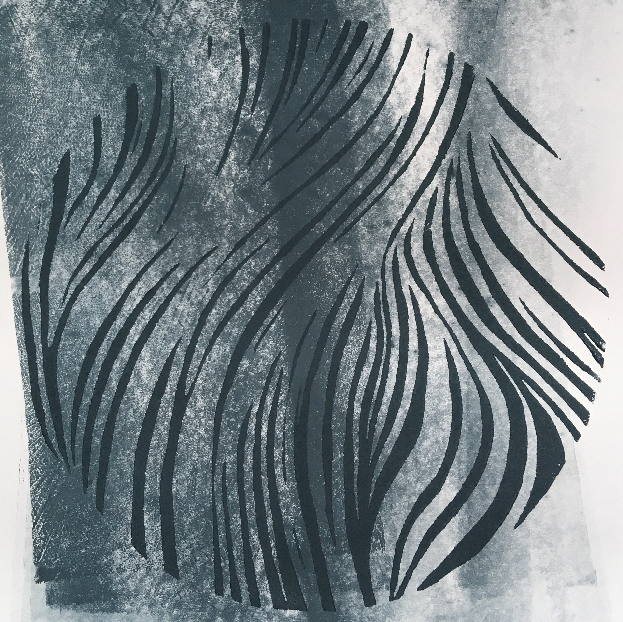 grey wave, mixedmedia with linocut, 2018 by eve dumas